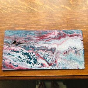 Acrylic flow on wood shingle
